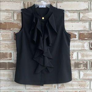 Calvin Klein • Sleeveless Ruffle Front Blouse Sz S
